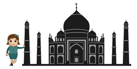 Black Cartoon Vector Taj Mahal Vector