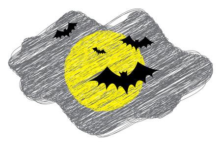 Flying Bats in Moon Light Drawing Vector