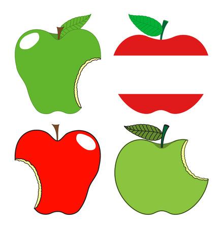 Eaten Apples Set Vector Vector