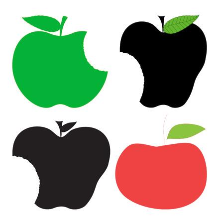 green apple slice: Apples Shapes Clipart Illustration