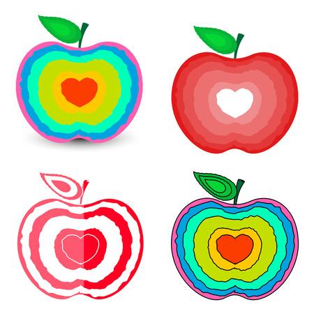 Love Hearts Apples Designs Vector