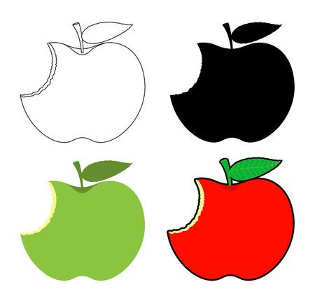 Eaten Apples Designs Set Vector