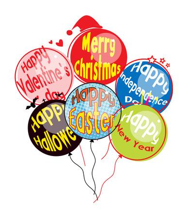 Various Festival Balloons Vector