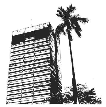 urban building: Grunge Urban Building Background Illustration