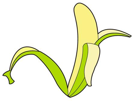 shake off: Peel Off Green Banana Vector Illustration