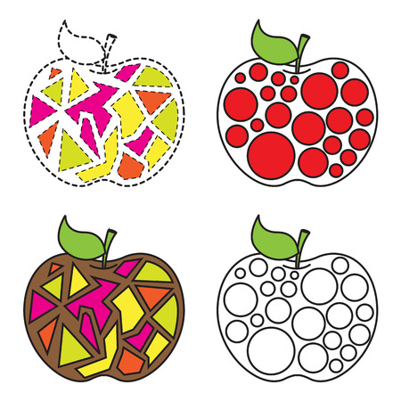 Abstract Colorful Pattern Apples Vector