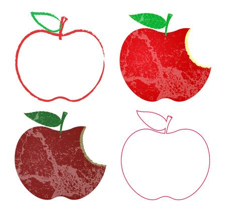 Grunge and Vintage Apples Designs Vector