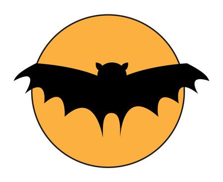 Flying Bat in Moon Light Vector