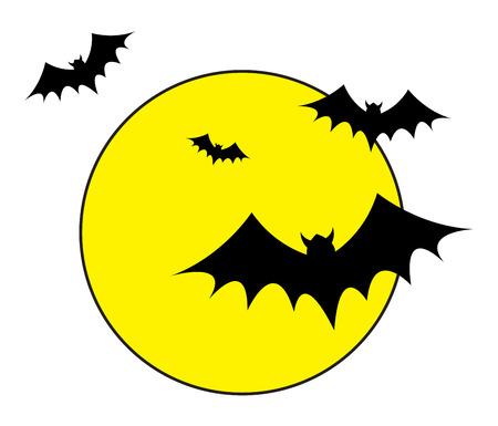 Bats Flying in the Moon Lights Vector