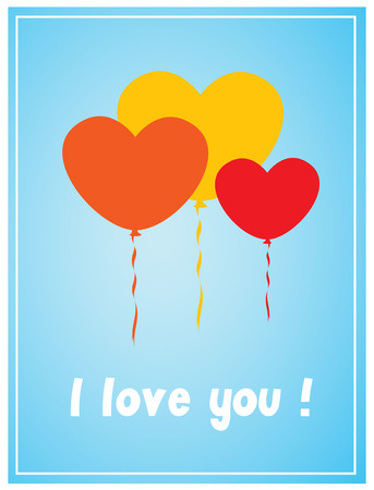 Valentine Balloons Greeting Card Vector