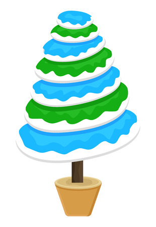 Colorful Snow Christmas Tree Vector Vector