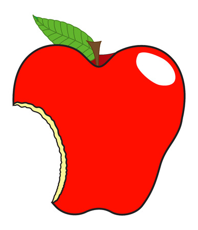 eaten: Eaten Apple Vector Illustration