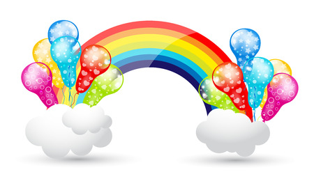 Party Balloons with Rainbow and Clouds Vector