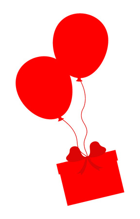 Balloons with Gift Box Vector