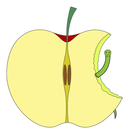 eaten: Eaten Half Apple with Worm