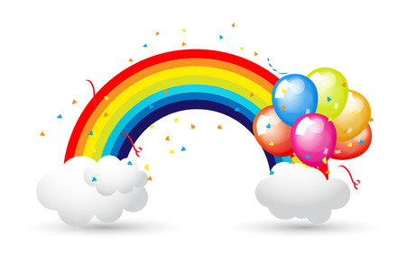 rainbow background: Celebration Balloons with Rainbow and Clouds