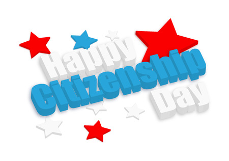citizenship: Happy Citizenship Day 3d Banner
