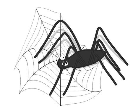 spider web: Halloween Spider in Web Illustration