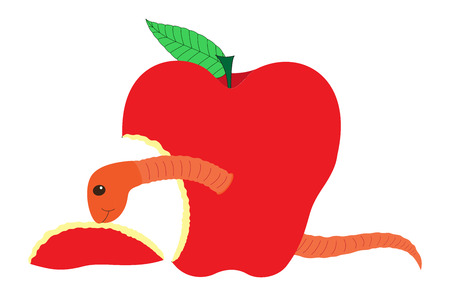 fruit worm: Fruit Worm Eating Apple Illustration
