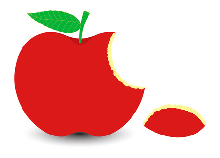 apple slice: Red Eaten Apple Slice Illustration