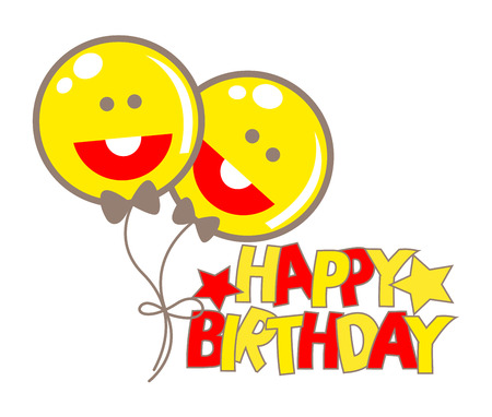 Happy Smiley Birthday Balloons Vector