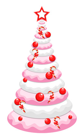 Christmas Tree Cake Design Vector
