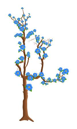autumn flowers: Autumn Flowers Tree Illustration