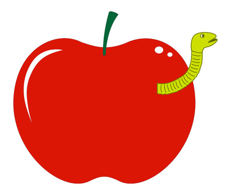 fruit worm: Apple with Fruit Worm