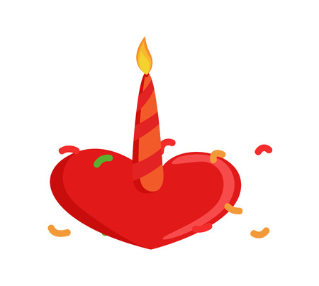valentine          s day candy: Heart with Candle Illustration