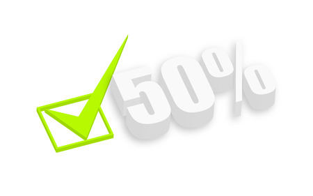 qualified: Fifty Percent 3d Text