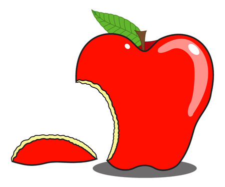 eaten: Eaten Apple Shape Vector