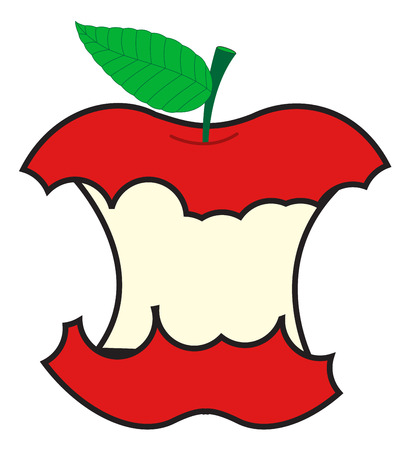 eaten: Vector Eaten Apple Illustration