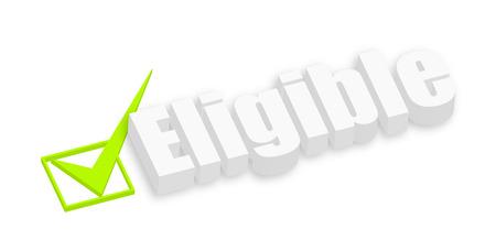 eligible: 3d bandera del texto Elegible