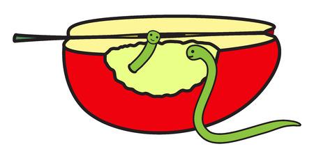gusanos: La mitad de Apple con Worms Vectores