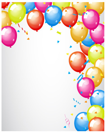 colored balloons: Abstract Colored Balloons Border