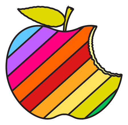 eaten: Colorful Eaten Apple