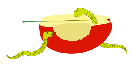 eaten: Eaten Apple with Worm