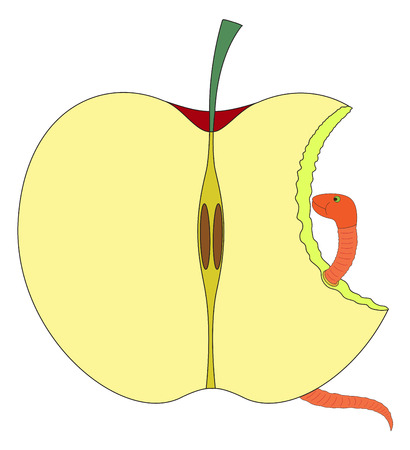 eaten: Eaten Apple Shape with Worm