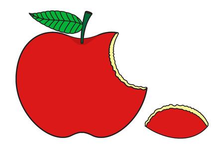 apple bite: Red Eaten Apple Illustration