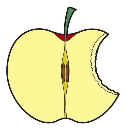 eaten: Half Eaten Apple Illustration