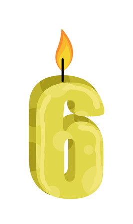 numbers clipart: Six Number Candle Illustration
