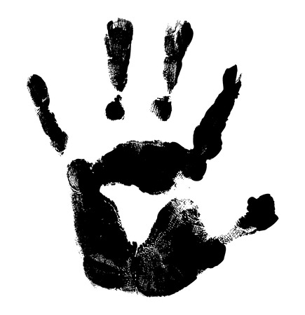stop hand silhouette: Halloween Hand Print Vector Illustration
