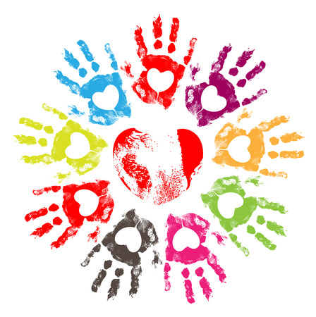 Hearts Hand Prints Vector