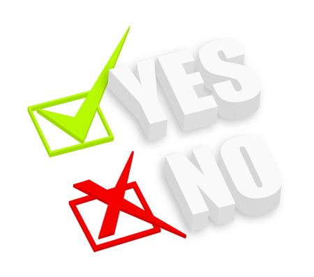 3d Yes and No Text Illustration