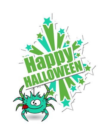 halloween spider: Funny Spider Halloween Background Illustration