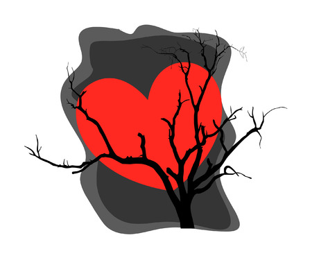 valentine s day background: Heart Dead Tree Background Illustration