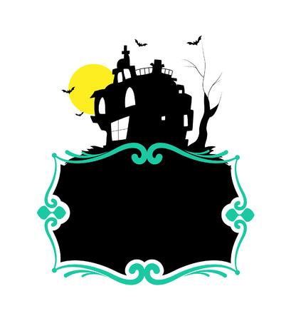 Haunted Halloween Banner Illustration