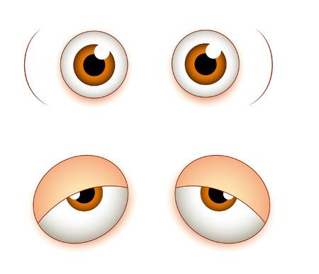sleepily: Shocked and Sleepily Comic Eyes Illustration