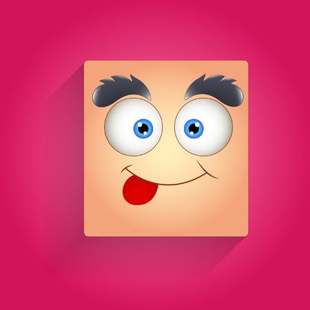 smiley face cartoon: Una cara con �ngel Burlas Vectores