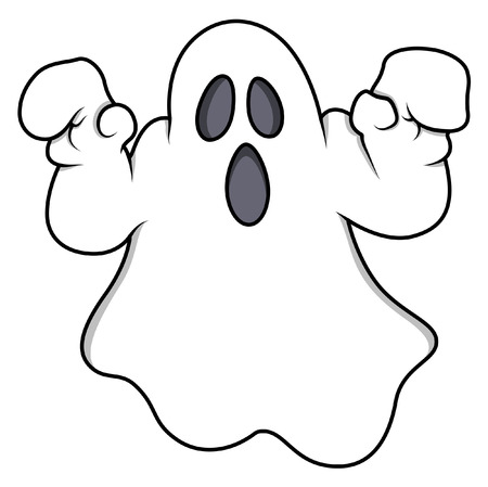ghost character: cartoon ghost - halloween vector illustration Illustration